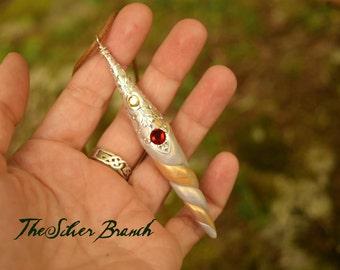 "Unicorn Horn Birthstone Necklace, Mini Unicorn Horn, Swarovski Crystal Studded Unicorn Necklace, 2-3"", Choose your Month"
