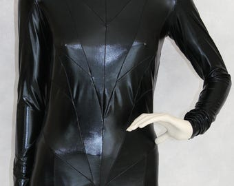 Black Catsuit complex pattern Jumpsuit Catwoman Unitard Leotard Bodysuit Costume Long Sleeve shinny Lycra fabric with Back Zipper