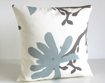 Floral Pillow Cover, Blue Pillow, Gray Pillow Sham, 16x16 Pillow Slip, Cushion Cover, Cotton Pillow Cover - Magnolia Pale Blue