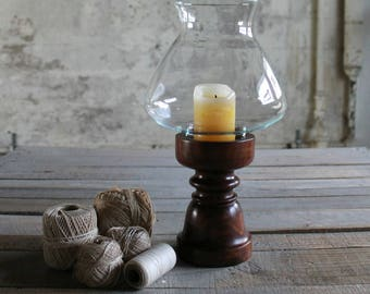 Vintage Wooden Candle Holder with Glass Hurricane