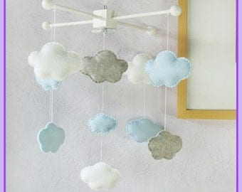 Cloud Baby Mobile, Baby Crib Mobile, Clouds Nursery, Modern Nursery Decor, Baby Shower Gift, Light Blue Gray and White Mobile