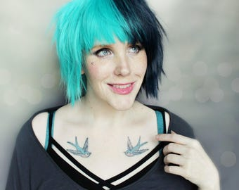 SALE Short Scene wig | Teal Blue wig, Short Emo wig, Straight wig | Scene Emo wig | Jade Gemini