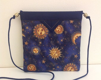 "Navy, Blue and Gold Sunburst Quilted Fabric Snap Bag Purse Handbag Handmade 7-3/4"" X  8"""