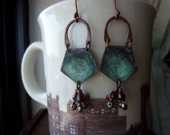 Rustic Pentagon Shape Verdigris Patina with Garnet Teardrop Earrings, Geometric, Dangle, Chandelier Earrings, Tribal, Bohemian