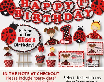 Ladybug Birthday Party Decorations, Ladybug Baby Shower, Ladybug First Birthday Decorations - Invitation, Banner, Cake Topper, Centerpiece