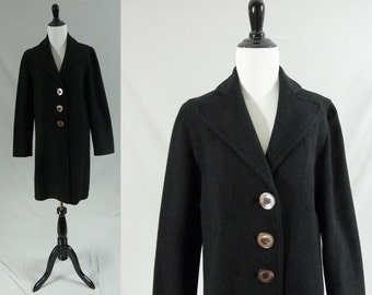 50s Black Wool Coat - Big Buttons - Marshall Field & Company - Taffeta Lining - Nice Quality - Vintage 1950s - Size S M