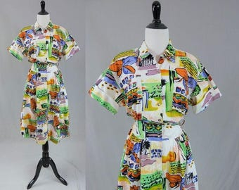 80s Print Dress - Abstract Tourist - Cotton Shirtwaist - Full Skirt - White Green Yellow Blue - Vintage 1980s - M