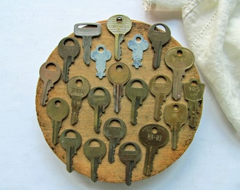 21 Vintage Small Brass Keys Master Lock Metal Silver Keys Charms Supplies Fortress WB Taylor Jewelry Steampunk Altered Art Key Collection