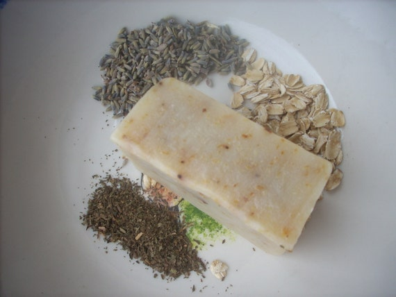 Lavender Mint hand made cold processed soap with green Tea & Oatmeal ...