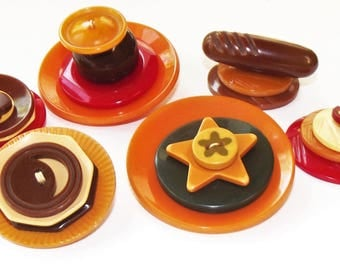 Vintage Buttons ~ Bakelite Button Stacks Fun Colors and Shapes!
