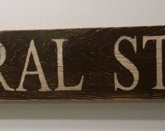 36 inch General Store Wooden Sign (Brown with white letters - Other options available)