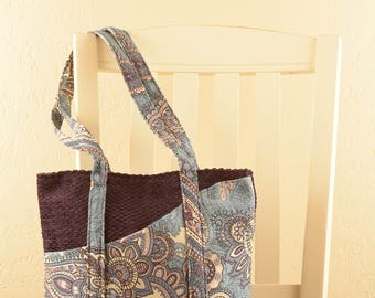 Purple body Blue Tote