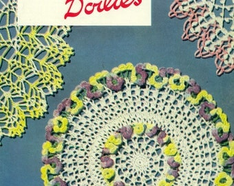 Star Book 87 DOILIES GEMS of COLOR Crochet & Hairpin Lace Patterns Flowers Ruffles Vintage 1950s American Thread Co. 1951