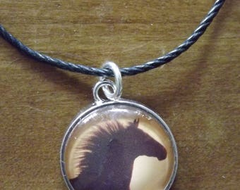 Wild Horse Pendant Mustang Silhouette Photo Under Glass Jewelry