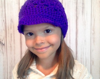 Purple Saturday Hat, Fits 10 years old To Women, Ready To ship, Brimmed Crochet Hat, Fall Hat, Winter Hat, Teen Hat, Womens hat