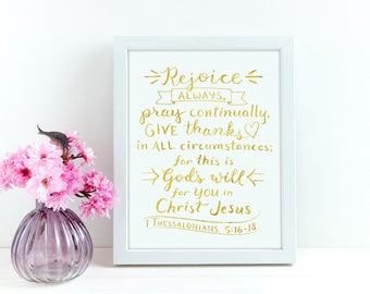 Christian Wall Art ~ Gold Foil ~ Rejoice Always ~ 1 Thessalonians 5:16-18 ~ Hand-Lettered Design