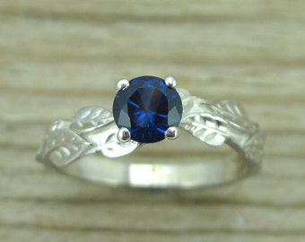 Sapphire Leaf Engagement Ring, Leaves Sapphire Engagement Ring, White Gold Leaf Ring, Sapphire Leaf Ring, Forest Ring, Sapphire Leaves Ring