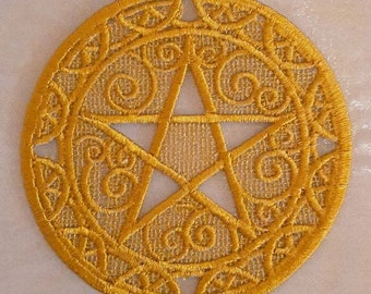 UK Gold, red, white, black Wicca Pagan lace pentacle applique, patch for altar cloth