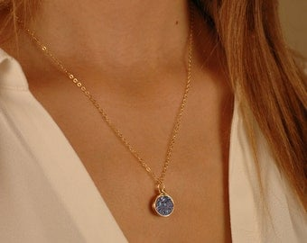 Small Round Druzy Pendant Necklace, Gold wire wrapped druzy stone, 14K gold-filled chain, Colors -Blue/Green, Gold, White, Black, Rainbow