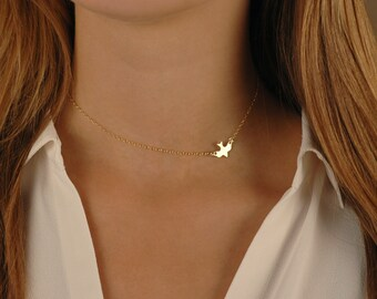 Small Bird Necklace, 14k gold filled, Sterling Silver, Rose Gold Filled, Soaring Bird Choker, Layering Jewelry, Dove Necklace, Sparrow