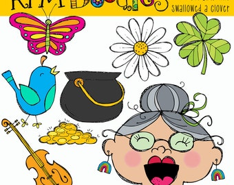 KPM Old lady who swallowed a Clover Digital Clipart