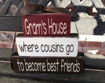 """Grandma/mothers day""""CHUNKY"""" stacker wood blocks-- Gram's house where cousins go to  become best friends"""