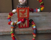 Vintage Wooden Baby Block Art Doll / Frozen Charlotte OOAK Steampunk Assemblage