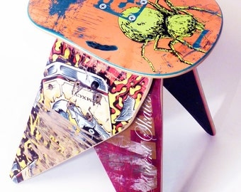 Recycled Skateboard Stool - No.597 by Deckstool. Reclaimed skateboards made into cool skater chair. Free Shipping Worldwide.