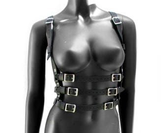 Leather Halter Harness FIREFLY in Black & Antique Brass