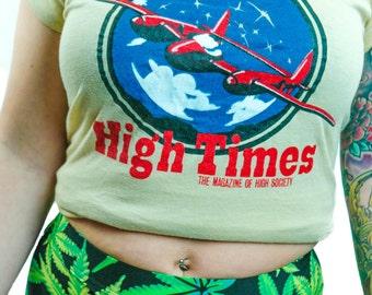 Vintage High Times shirt 1970s Tee Weed Pot Punk Metal 70s shirt Rocker Band Tee Grateful Dead Stoner Iron Maiden shirt Metallica Slayer