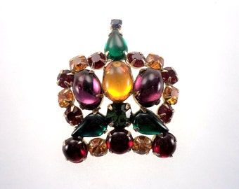 Signed WEISS Crown Jewels Brooch Rich Gemstone Colors