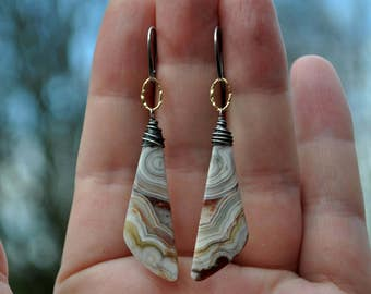 Crazy Lace Agate Earrings, Boho Mixed Metal Agate Dangle Earrings, Gold & Oxidized Sterling Silver Jewelry, Large Natural Gemstone Dangles