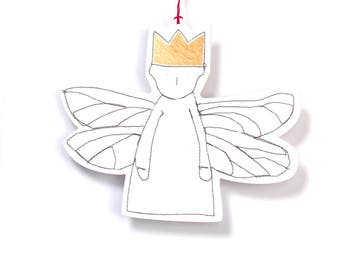 Gold foil gift tags , Christmas Ornament , White paper doll , dwarf angel , dragonfly wings , Tree Decor , Hanging angel , Wall Hangings