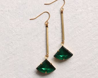 Emerald Green Art Deco Earrings ... May Birthstone Earrings