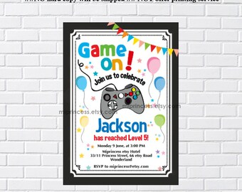 Video Game party invitation, game, Level up, birthday party,  game on, for any age,4th 5th 6th 7th 8th 9th 10th card 1115