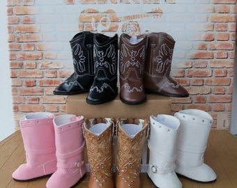 "Doll Western Boots /  Accessories for 18"" American Girl ® Dolls like Tenney and Logan"