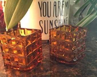 Vintage Square - Block Amber Votive Candle Holders - Set of Two