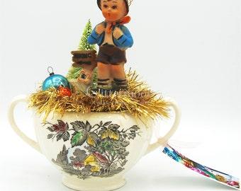 Vintage Holiday Tabletop Decor: Hong Kong Hummel Boy in Meakin Transferware Creamer w/Bottlebrush Tree, Ornaments
