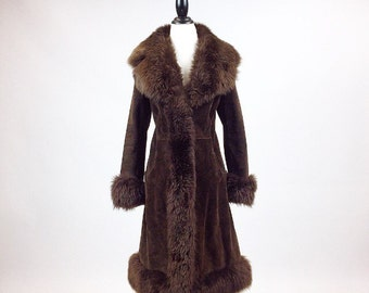 70's Boho Shearling Mongolian Lamb Gorgeous Fluffy Brown Trimmed Princess Almost Famous Coat // M - L