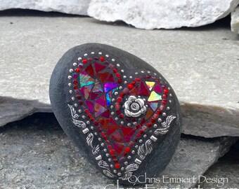 Valentine Mosaic Rock, Mosaic Heart, Red Heart, (A) Mosaic Garden Stone, Heart Mosaic Paperweight / Garden Stone