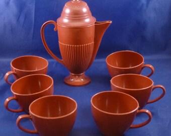Vintage Brown Plastic Children's Pretend Play Tea Set, 1960s (8 pieces)