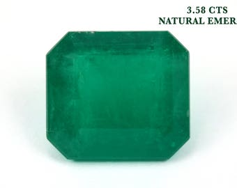 3.58 Ct Loose Dark Emerald, Loose Faceted Gemstone, Genuine Green Emerald Beryl, Rectangle Emerald, Emerald Jewelry Supplies, May Birthstone