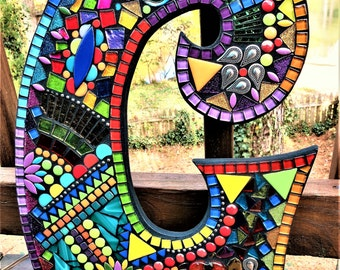 """CUSTOM MOSAIC LETTERS/Initials/Name - Made to Order - 'Wild & Funky' Style - All Colors of Glass/Tile - 18"""" Tall -  Unique / One-of-a-Kind!"""