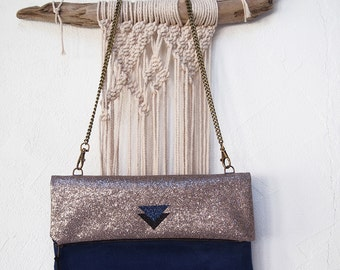 Blue and bronze Handbag clutch little geometric panel with chain faux suede