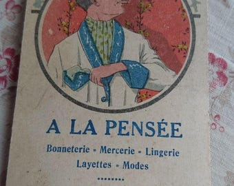 Charming antique French waiters bistrot order pad advertising lingerie shop c1910 BELLE BROCANTE