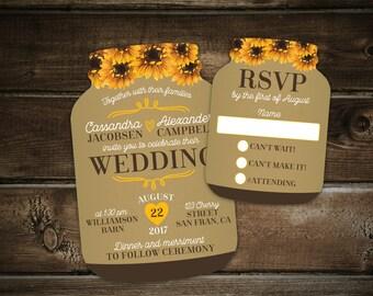 Sunflower & Burlap wedding invitation, Summer Wedding Invitations, Mason Jar shaped cards, Country Wedding, Set of 10 printed invitations