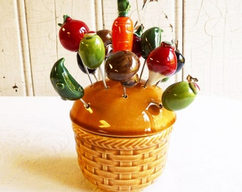 Vintage Veggie Picks - Ceramic Vegetables with Holder - Retro Appetizer Pick Set - Cocktail Olive or Onion Pick - Mid-Century Cool - 1960s