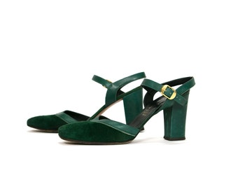 Vintage 1960's Italian Forest Green Leather Strappy High Heels Women's Size 7 M Made in Florence Italy Retro Boho High Fashion