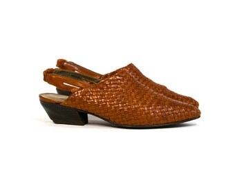 Vintage 1980's Sandra Miller Leather Woven Sling Back Sandals Women's Size 6 7 M Boho/Retro