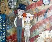 GATSBY'S DREAM, mixed media art, Great Gatsby, America Dream, Romance, F Scott Fitzgerald, Literature art, Whimsical Art, Folk Art, Daisy